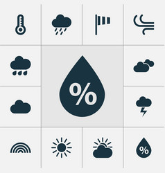 Air icons set collection of temperature flag vector