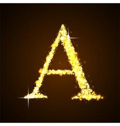 Alphabets a gold glittering stars vector
