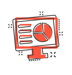 analytic monitor icon in comic style diagram vector image