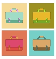 Assembly flat icons school bag backpack vector