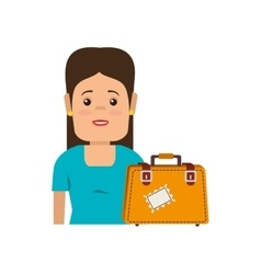 avatar woman and suitcase accessory vector image