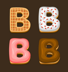b letter belgium waffles with different toping vector image