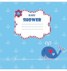 Baby shower with cute whale 4 vector