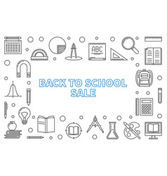 back to school sale concept outline banner vector image