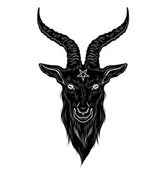 Baphomet demon goat head hand drawn print vector