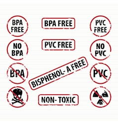 Bisphenol-A and PVC free stamps set vector