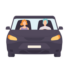 Black car with driver and passenger front view vector