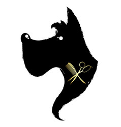 black dog silhouette and scissors with comb vector image