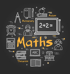 Black school concept with maths subject vector