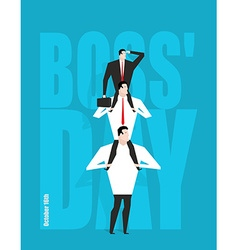 Boss Day Head sits on subordinates Festival on 16 vector image