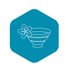 Bowl with water for spa icon outline style vector