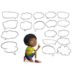 Boy and many speech bubbles vector