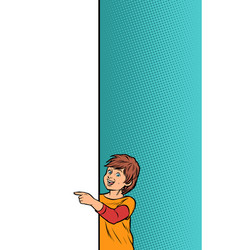 Boy child son shows on copy space poster vector