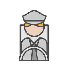Bus man avatar icon on white background vector