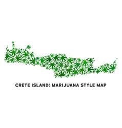 Cannabis collage crete island map vector