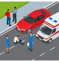 Car accident accident and pedestrian flat 3d vector