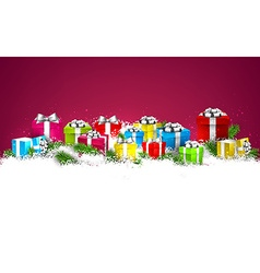 Christmas background with colorful gift boxes vector
