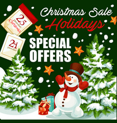 Christmas holiday sale shop promo poster vector