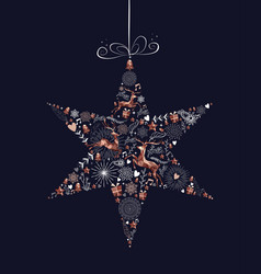 christmas holiday star decoration with copper deer vector image