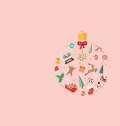 christmas objects laid out in shape a vector image