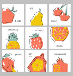 collection of cards with fruits vector image
