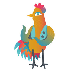 Colorful cock in cartoon style vector