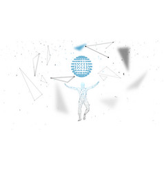 conceptual abstract man connected lines dots vector image