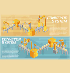 Conveyor system isometric banners vector