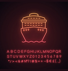 Cruise ship in front view neon light icon vector