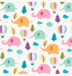 Cute elephant pattern background for kids vector