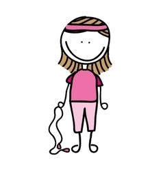 drawing girl with rope isolated icon design vector image
