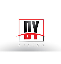 Dy d y logo letters with red and black colors and vector