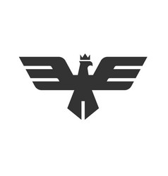 eagle head with crown logo template vector image