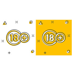 Eighteen plus icon in comic style 18 cartoon vector