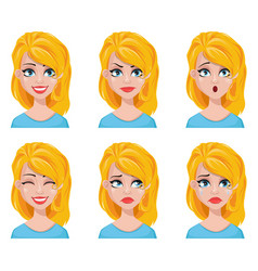 Face expressions of cute blonde woman vector