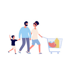 family food shopping man woman boy with cart vector image