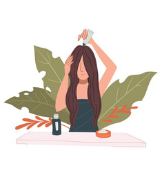 Female character caring for hair applying mask vector