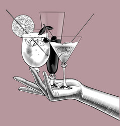 Female hand holding wine glasses with cocktails vector