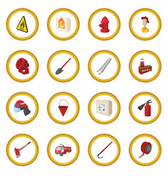 firefighter cartoon icon circle vector image