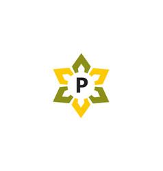 Flower infinity letter p vector