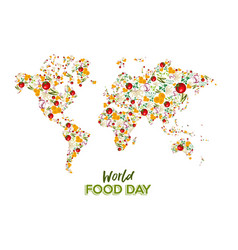 food day greeting card of vegetable world map vector image