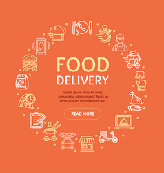 food delivery service signs round design template vector image
