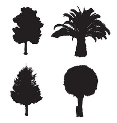 four silhouette trees set vector image