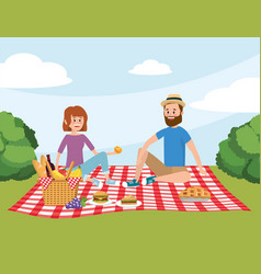 fun woman and man couple in the tablecloth with vector image