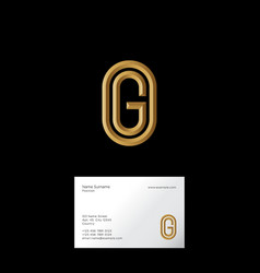 g letter initial gold letter oval vector image