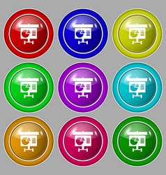Graph icon sign Symbol on nine round colourful vector image