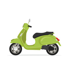Green moped scooter motorcycle vector