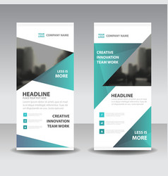 Green triangle business roll up banner flat vector