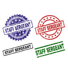 Grunge textured staff sergeant stamp seals vector