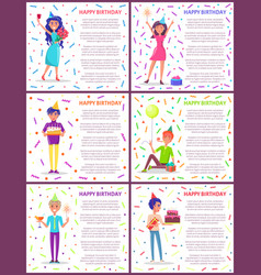 Happy birthday poster with text partying people vector